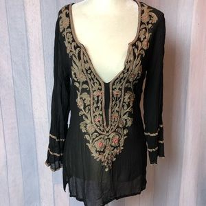 Ella Moss Blouse Sheer Beaded Embroidered Top